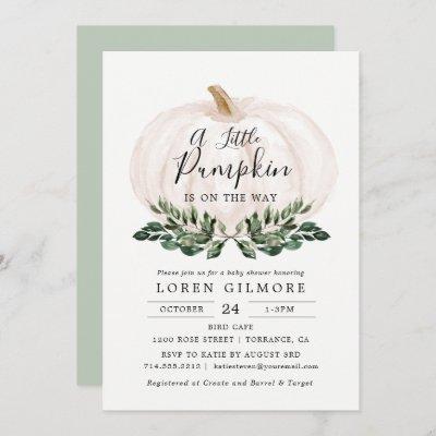 Fall Greenery White Pumpkin Baby Shower Invitation