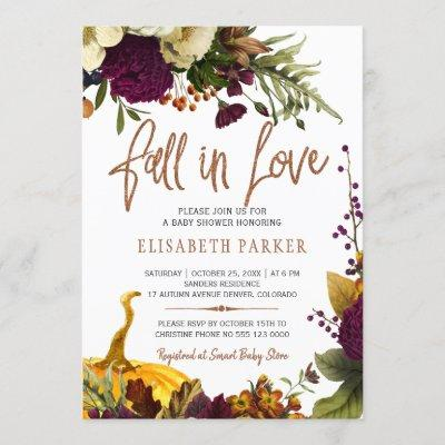 Fall in love autumn fall floral baby shower invitation