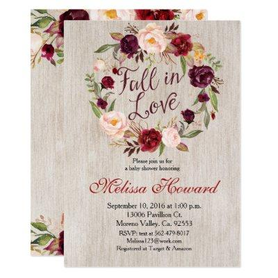 Fall In Love Baby Shower Invitations