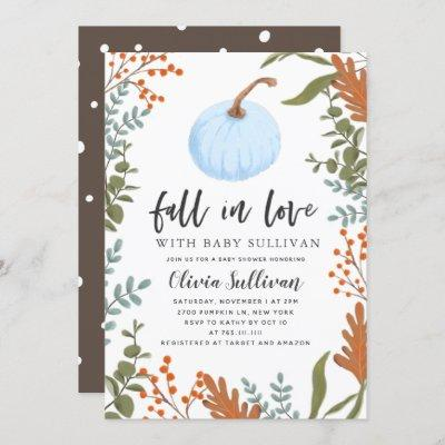 Fall in Love Blue Pumpkin Baby Shower Invitation