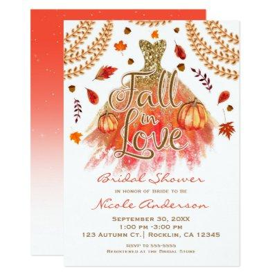 Fall in Love Bridal Shower Dress & Autumn Leaves Invitations