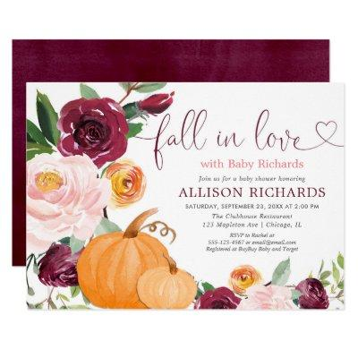 Fall in love floral rustic burgundy baby shower invitation
