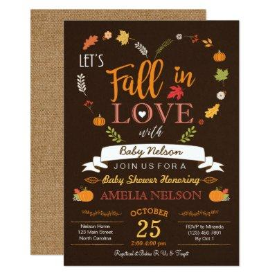 Fall In Love Pumpkin Baby Shower Invitations