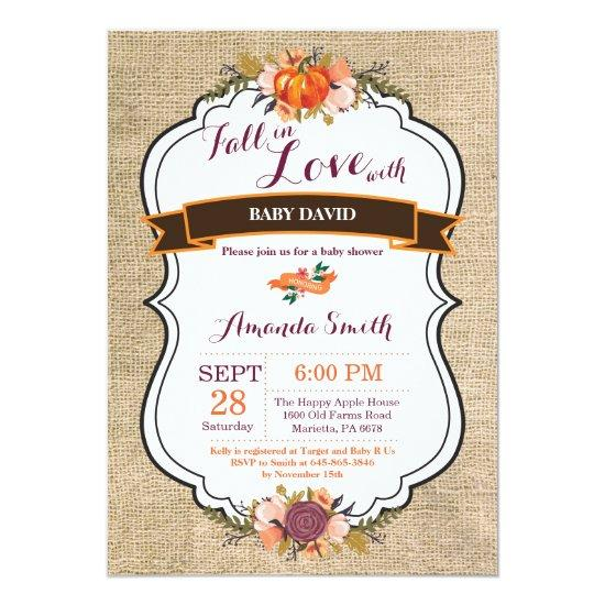 Fall in Love Pumpkin Baby Shower Invitations Burlap