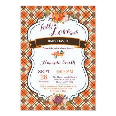 Fall in Love Pumpkin Baby Shower Invitations Card