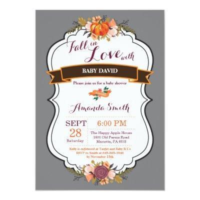 Fall in Love Pumpkin Baby Shower Invitation Gary