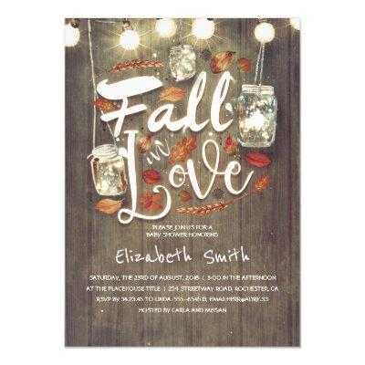 Fall in Love Rustic Mason Jars Baby Shower Invitation