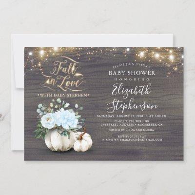 Fall in Love White Pumpkin Rustic Baby Shower Invi Invitation