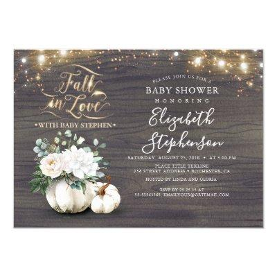 Fall in Love White Pumpkin Rustic Baby Shower Invitation