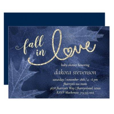 Fall in Love with Autumn | Navy Blue Baby Shower Invitation