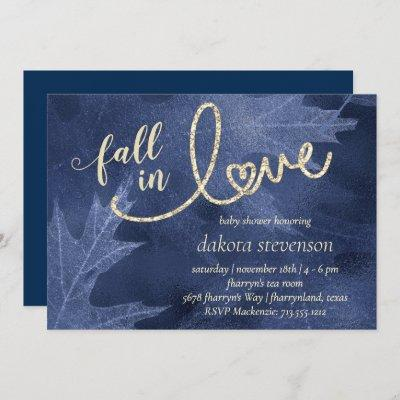 Fall in Love with Autumn   Navy Blue Baby Shower Invitation
