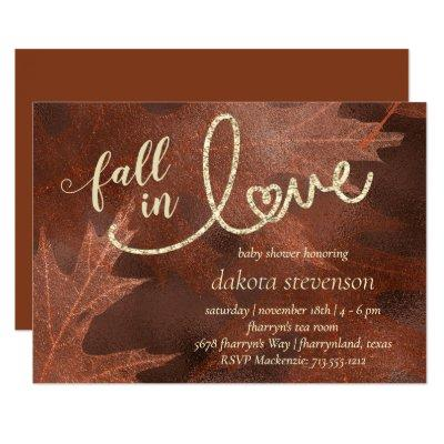 Fall in Love with Autumn | Rust Orange Baby Shower Invitation