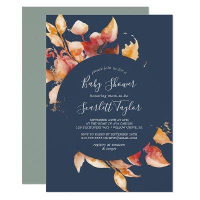 Fall Leaves   Navy Blue & Burgundy Baby Shower Invitation