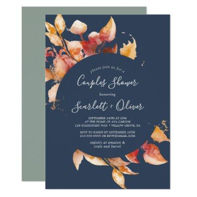 Fall Leaves | Navy Blue & Burgundy Couples Shower Invitation