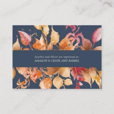 Fall Leaves | Navy Blue Wedding Gift Registry Enclosure Card