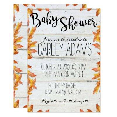 Fall Leaves Rustic Baby Shower Invitation