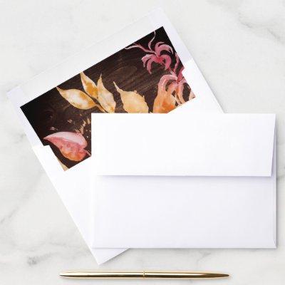 Fall Leaves   Rustic Brown Wood Wedding Envelope Liner