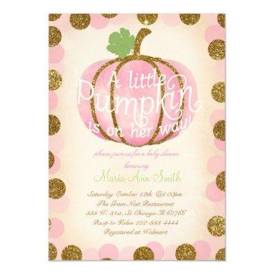 Fall Pink pumpkin glitter Vintage baby shower Invitation