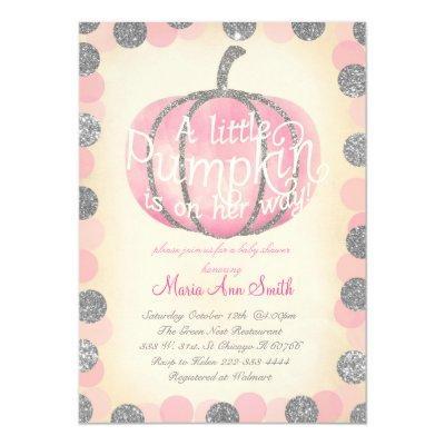Fall Pink pumpkin sliver glitter Vintage baby Invitations