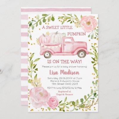 Fall Pink Pumpkin Truck Baby Shower Girl Invitation
