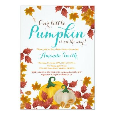 Fall Pumpkin Aqua Baby Shower Invitations