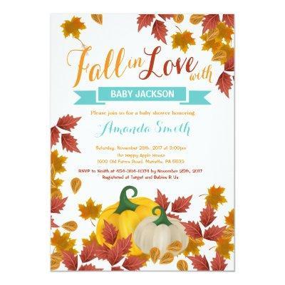Fall Pumpkin Aqua Baby Shower invitation