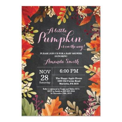 Fall Pumpkin Autumn Girl Baby Shower Invitation