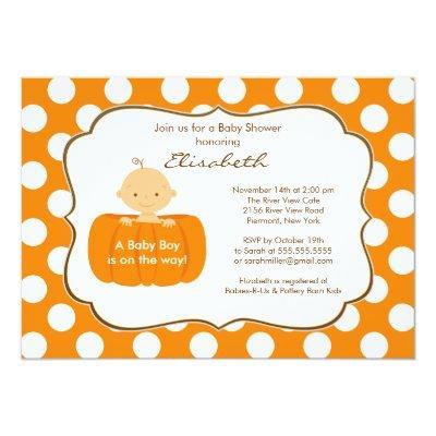 Fall Pumpkin Baby Boy Shower Invitations