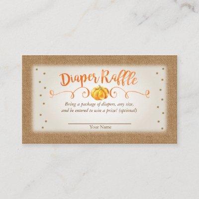 Fall Pumpkin Baby Shower Diaper Raffle Card