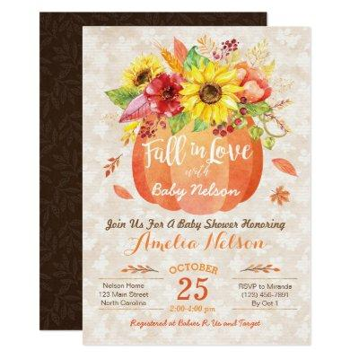 Fall Pumpkin Baby Shower Invitations