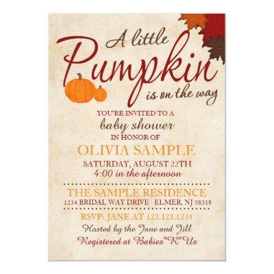Fall Pumpkin Invitations