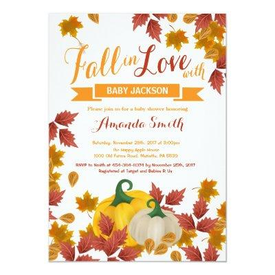 Fall Pumpkin Baby Shower Invitations