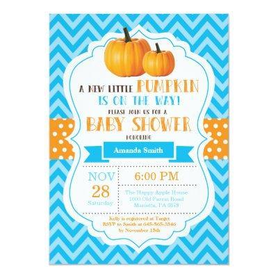 Fall Pumpkin Baby Shower Invitation Blue Chevron