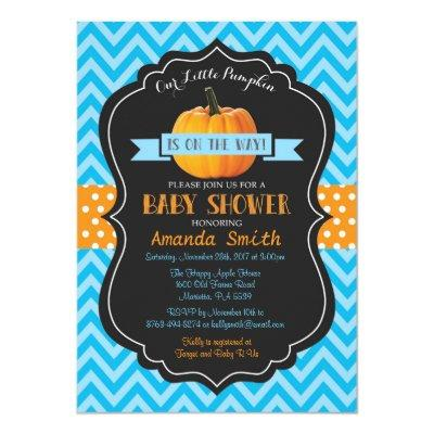 Fall Pumpkin Baby Shower Invitation Blue Chevron