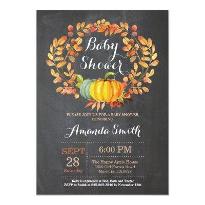 Fall Pumpkin Baby Shower Invitation Card