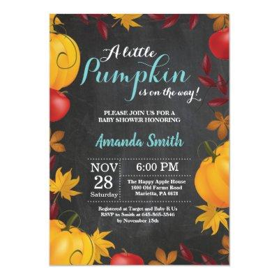 Fall Pumpkin Baby Shower Invitations Chalkboard
