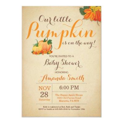 Fall Pumpkin Baby Shower Invitation Orange Brown