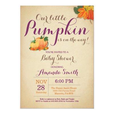 Fall Pumpkin Baby Shower Invitations Orange Purple