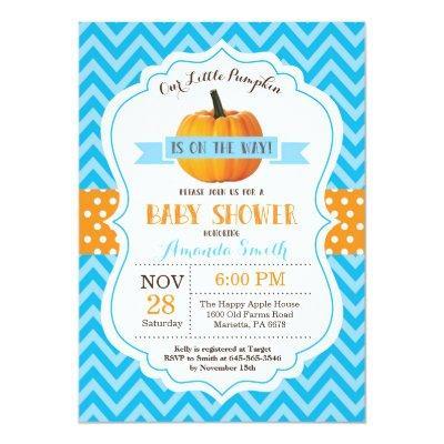 Fall Pumpkin Baby Shower Invitation Pink Chevron