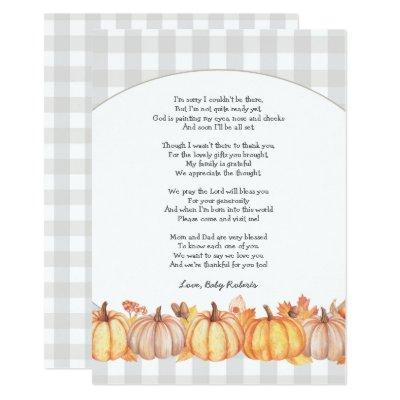 Fall pumpkin baby shower poem thank you note Invitations