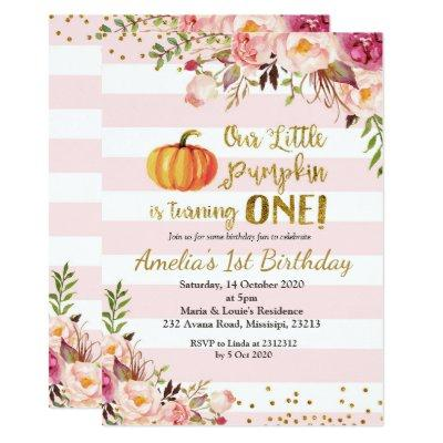 Fall Pumpkin Birthday Invitations