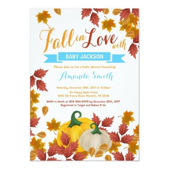 Fall Pumpkin Blue Boy Baby Shower invitation