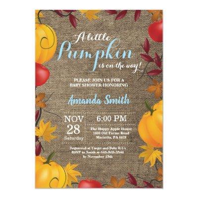 Fall Pumpkin Burlap Boy Baby Shower invitation