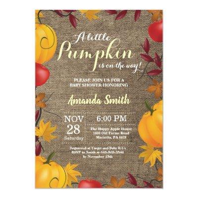 Fall Pumpkin Burlap Yellow Baby Shower invitation