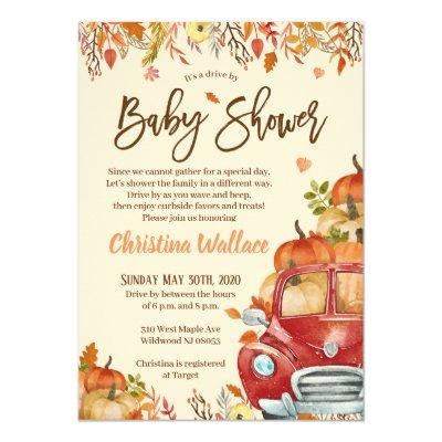 Fall Pumpkin Drive By Baby Shower Invitations