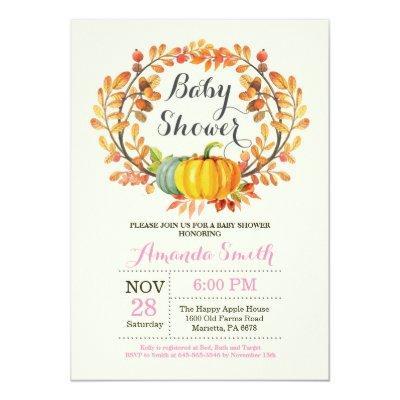 Fall Pumpkin Girl Baby Shower Invitations Card