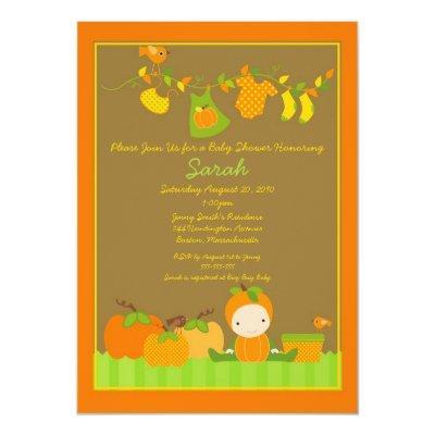 Fall Pumpkin Girl Clothesline Baby Shower Invite