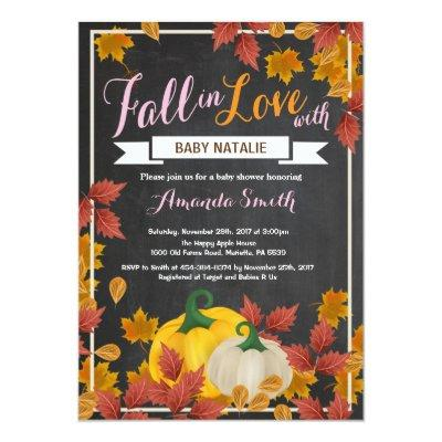 Fall Pumpkin Girl Pink Baby Shower Invitations