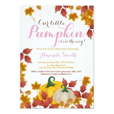 Fall Pumpkin Pink Girl Baby Shower Invitations