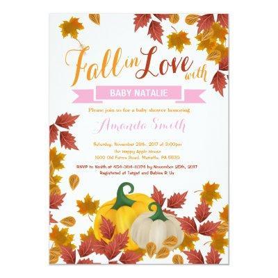 Fall Pumpkin Pink Girl Baby Shower invitation